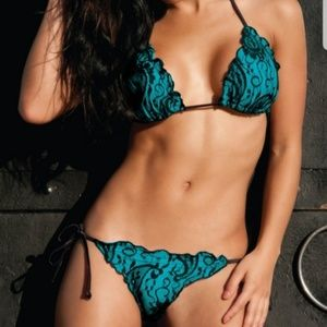 Sexy Turquoise and black lace swim